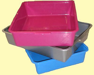 Cat Litter Tray - Large : PINK BLUE SILVER