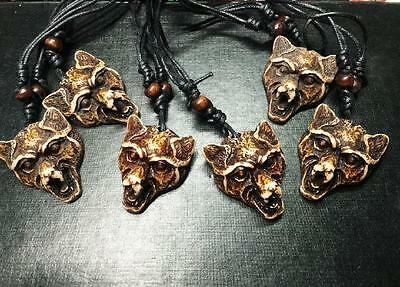 12Pc Wholesale Lots Huge Tibet Wolf Head Necklace& Pendants Y006