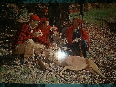 Deer Hunters Eating Lunch Over Kill Quebec C1950 Plastichrome Caa Rppc Hunting