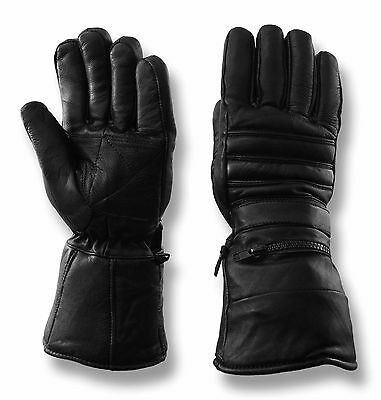 Vance Leathers Men's Gauntlet Lambskin Motorcycle Riding Gloves - Black