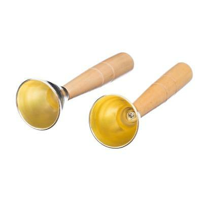 2pcs Mini Golden Hand Bell Lovely Clear Sound w/ Wooden Handle Childrens Toy