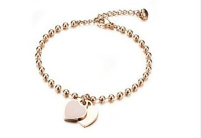 18K Rose Gold Plated Solid Stainless Steel Heart Charm Pendant Bracelet Bangle