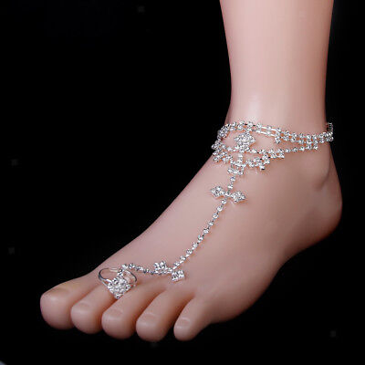 Silver Toe Ring Rhinestone Slave Chain Anklet Ankle Beach Bridal Jewelry