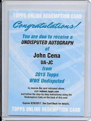 2015 Topps WWE Undisputed JOHN CENA ON CARD AUTO Redemption AUTOGRAPH SIGNED WWF