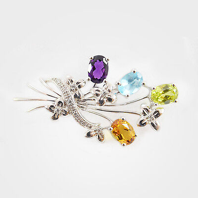 Classic Flower Bouquet Multipe Genuine Gemstones Brooch in 925 Sterling Silver