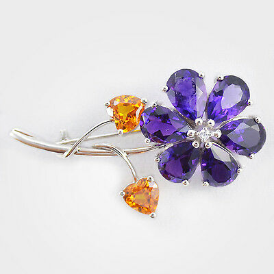 Amethyst Daisy Brooch with Heart Shape Citrine Leafs in 925 Sterling Silver