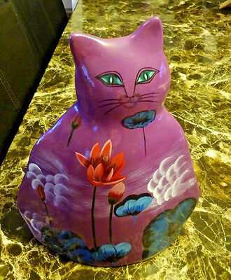 Gorgeous-Vase/Planter Mexican Ceramic Cat-Hand Painted Folk Art Collectible