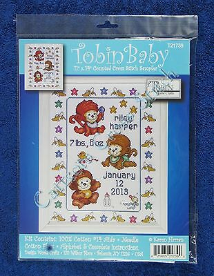 Cross Stitch Kit Monkeys On The Bed Baby Birth Record Sampler Announcement
