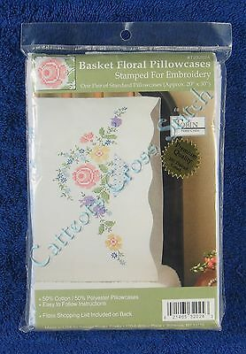 "Stamped Cross Stitch Basket Floral Pillowcases Pair 20"" x 30"" Flowers"