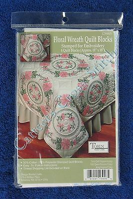 Stamped Cross Stitch Quilt Blocks Floral Wreath Set of 6 Flowers Tobin