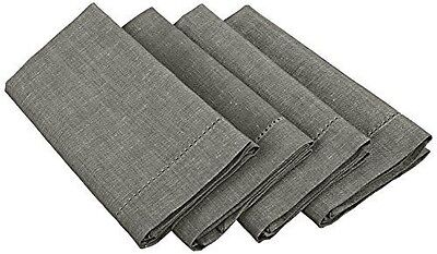 Mahogany T08NPCR Linen Napkin with Hole Stitch, 20 by 20-Inch, Charcoal, Set of