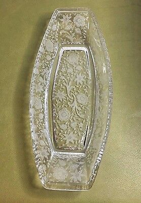 "ELEGANT Cambridge WILDFLOWER Etched OBLONG CELERY 11.5"" GADROON EDGE"