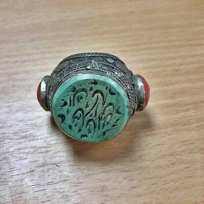 Rare Old Isalamic Ring Intaglio Turquoise Stone & Coral Ring