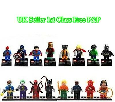 16pcs Uk Marvel DC Super Hero Avengers mini figure Minifigure made fits Lego