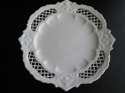 Genuine Antique Pierced Creamware Rope Border Plate, possibly Leeds #6