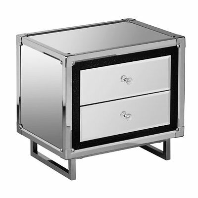 Premier Housewares 2 Drawer Mirror Unit with Crocodile Effect Detail, Stainless