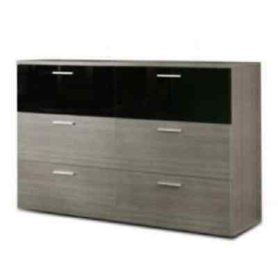 Salvatore 3+3 Chest of Drawers Black Gloss & Grey Oak Effect CLNK26 - By Factor