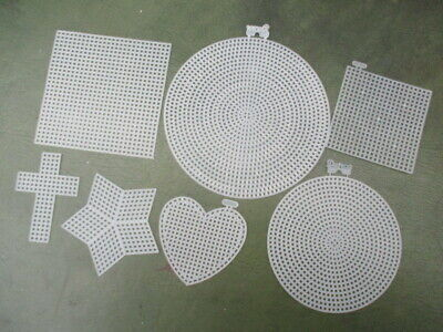 Darice Plastic Canvas Shapes - 2,5,10 Shapes - Round, Square, Heart, Cross, Star
