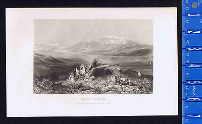 Mount Hermon View from Plain of the Jordan - 1862 Engraved Print