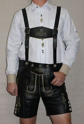 BLACK LEATHER LEDERHOSEN German Oktoberfest SHORTS + SUSPENDERS Pants Trachten