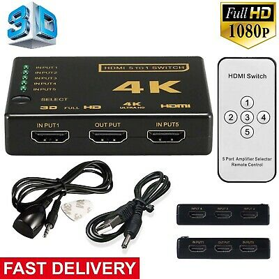 5 Port 1080P Video HDMI Switch Switcher Splitter for HDTV DVD PS3 + IR Remote