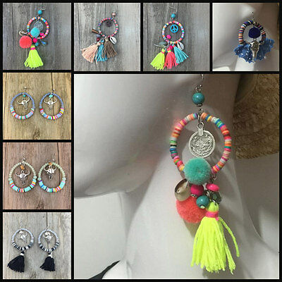 Colourful Peace Cow Skull Tassel Native Earrings Mexican Aztec American Indian