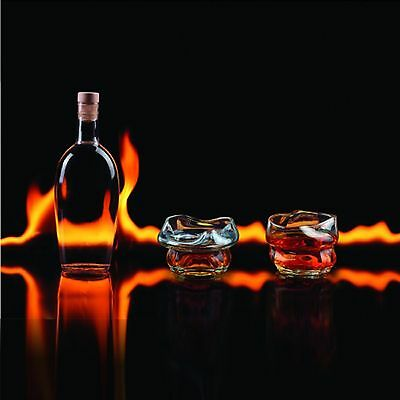 Charred Whiskey Glasses Tumblers Set Of Two Brand New Gift Melted Drinking