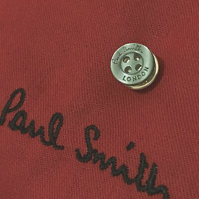 New! Paul Smith London Smoke Grey Button Silver Plated Tie Lapel Pin Clip Badge