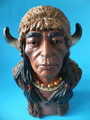 Red Indian Bust Figure Native American Ornament Resin Collectable