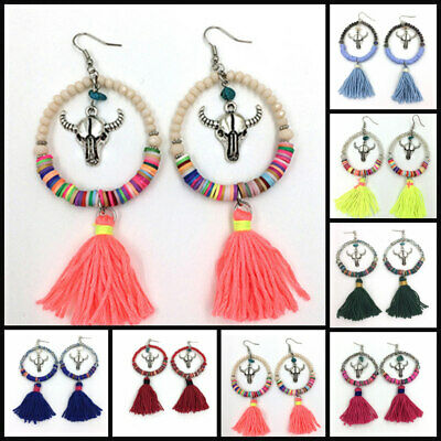 Colourful Handmade Peace Native Tassel Earrings Mexican Aztec American Indian