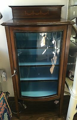 Bow Fronted Music Cabinet Display Case Marquetry Edwardian