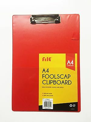 A4 Size 1 Red Black Foolscap Clipboard Writing Pad Clip Board/pen Paper Holder