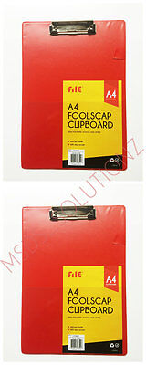 2 X A4 Size Red Foolscap Clipboard Writing Pad Clip Board/pen Paper Holder