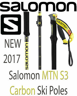 NEW 2017 Salomon MTN Carbon S3 Adjustible Ski Poles Bacountry All Mountain NWT