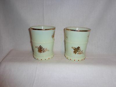 Vintage Glass Heisey Custard Ring Band With Gold Flowers Drinking Glasses (2)