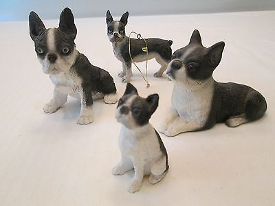 Lot of 4 Boston Terrier  Dog Figurine Statue