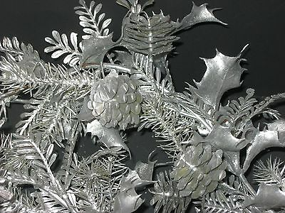 Vintage Christmas Plastic Silver Holly & Pinecone Garland 7 Feet
