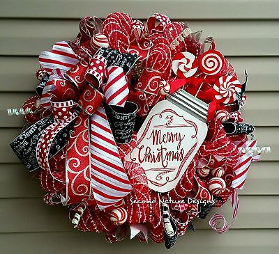 Deco Mesh Christmas Wreath Peppermint Candy Mesh Wreath  Candy Cane Christmas Wr