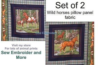 Horses horse Animals cotton pillow or large panel fabric *Choose design