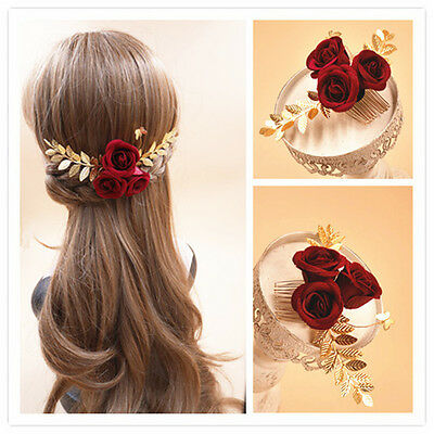Vintage Rose Flower Hair Accessories Comb Wedding Gold Leaf Headpiece Jewelry RD