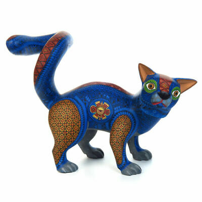 CAT Oaxacan Alebrije Wood Carving Handcrafted Fine Mexican Folk Art Sculpture