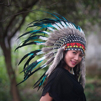 INDIAN HEADDRESS, Native American Costume, Chief Warbonnet Replica