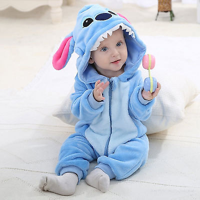 Unisex Blue Stitch Baby Toddler Costume  Flannel Romper Outfits Animal Jumpsuit