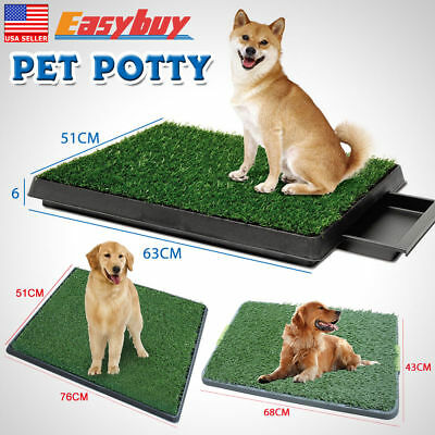 Indoor Pet Toilet Dog Grass Restroom Potty Training with Tray and Loo Pad 3 Size