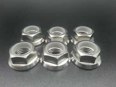 6* Titanium Ti M10x1.25mm Pitch Sprocket Flange Lock Nut For Honda Suzuki Yamaha
