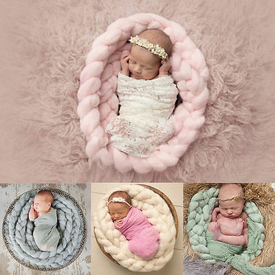 Newborn Baby Photography Photo Prop Backdrop Handmade Soft Wool Knit Blanket Rug