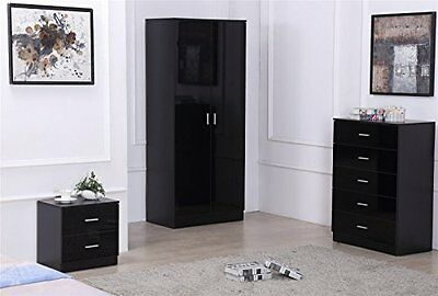 OSSOTTO HIGH GLOSS 3 PIECE Bedroom Furniture Set - Wardrobe, 5 drawer Chest & on