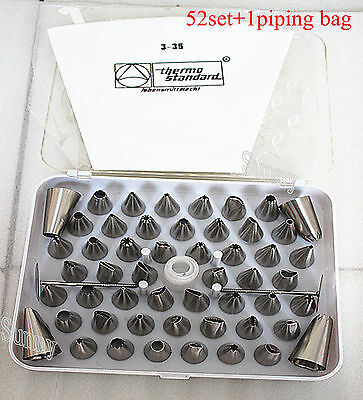 52 Stainless Steel Icing Nozzles Set Cake Decorating Baking Tools+Piping Bag UK