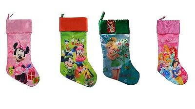 "Disney 20"" Satin Christmas Stocking Mickey Minnie Mouse Tinkerbell or Princess"