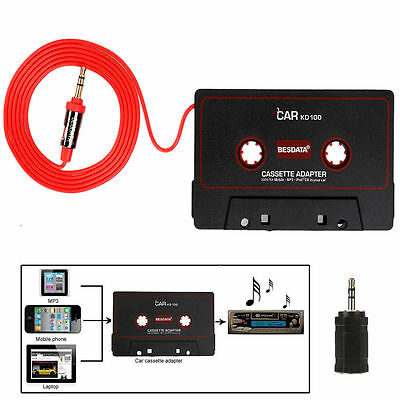 BESDATA Car Audio Tape Cassette Adapter iPhone iPod Mp3 Radio 3.5mm Jack Aux NEW